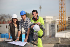 Meeting on a construction site